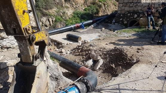 إنهاء صيانة خط مياه طريق جرش عمان
