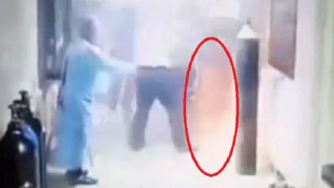 شاهد..  لحظة انفجار أنابيب غاز الأكسجين داخل احدى المستشفيات .. فيديو
